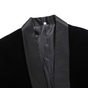 Image 4 - Pyjtrl Nam Plus Kích Thước Cổ Điển Khăn Choàng Đen Ve Áo Nhung Cộc Tay Nam Thời Trang Cưới Chú Rể Mỏng Phù Hợp Với Áo Khoác Ca Sĩ Trang Phục