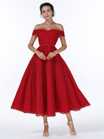 Red Christmas Dress 2017 Spring Winter Women Rockabilly 50s 60s Retro Elegant Audrey Hepburn Vintage Off
