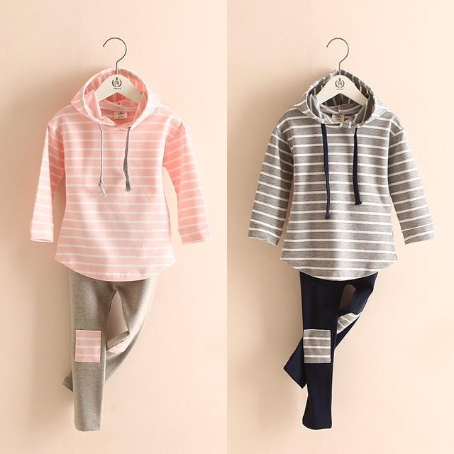 2019 Spring Girls Clothing Sets Cotton Striped Hooded Sweatshirt+ Pants Kids Clothes Sport Suits Crianca Roupas Tz-2720