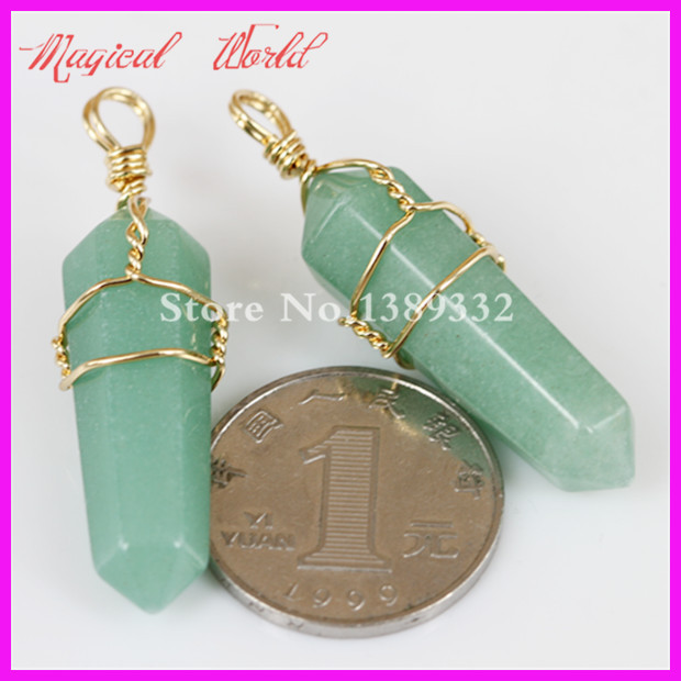 High Quality Wire Wrapped Pendant Nature Hexagon Prism Beads Healing Point Green Aventurine Gems Pendant Druzy Pendant