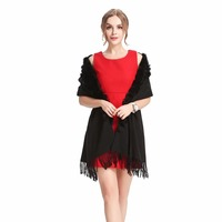 ZY87001 1 Classic Womens Woolen Shawls with Rabbit Fur pompoms Tassels Decoration Fashion Lady Solid Wool Poncho Outwear Stoles