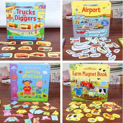 1 pièce image anglaise collerbook scène magnétique autocollants répétés ferme/avion/habiller livre adhésif magnétique pour les enfants