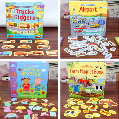 1piece English Picture StickerBook Magnetic Scene Repeated Stickers Farm / Aircraft / Dress Up Magnetic Adhesive Book for kids maisy s farm sticker book