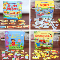 1piece English Picture StickerBook Magnetic Scene Repeated Stickers Farm / Aircraft / Dress Up Magnetic Adhesive Book for kids