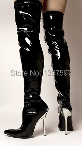 Womens Black Leather Over The Knee Boots