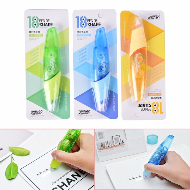 Creative Correction Tape Pen Shaped Decorative White Out School Office Supply Stationery 1pcs Random Color