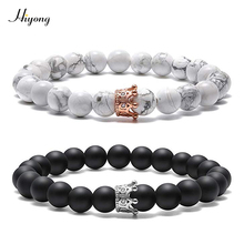 HIYONG King&Queen Crown Distance Couple Bracelets Matte Agates White Howlite CZ 8mm Beads Bracelet Natural Stone Jewelry