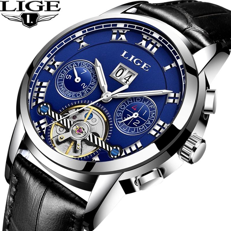 LIGE Luxury Business Carnival tourbillon watch men Stainless Steel Automatic machine Waterproof leather watch relogio masculino