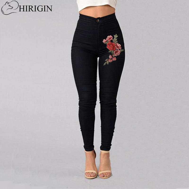 HIRIGIN Women Stretch High Waist Skinny Embroidery Jeans Without Ripped Woman Floral Denim Pants Trousers For Women Jeans men without women
