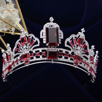 Sparkling Red Bridal Tiaras Crowns Cubic Zircon for Brides European Silver Wedding Hairbands Evening Hair Accessories Gifts