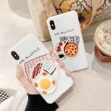 3D Lebensmittel Sunny-seite-up Ei Pizza Telefon Fall für iPhone XS MAX XR Nette Frühstück Zurück Abdeckung für iPhone X 8 7 6S 6 Plus Coque