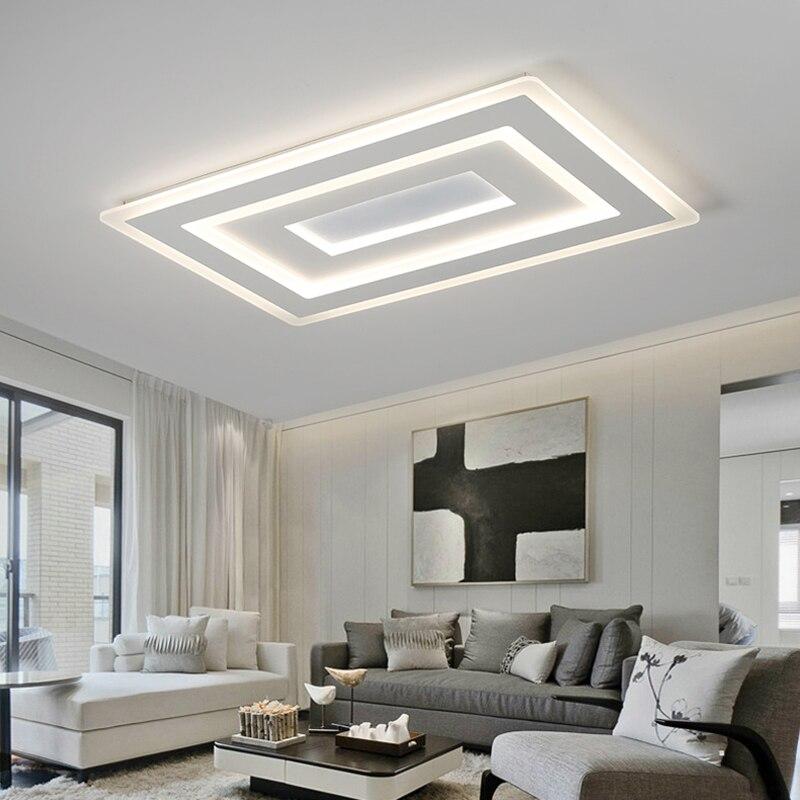 Işıklar ve Aydınlatma'ten Tavan Işıkları'de Yüzeye monte Modern Led tavan ışıkları oturma odası yatak odası için Ultra ince lamparas de techo dikdörtgen tavan lambası fikstür title=