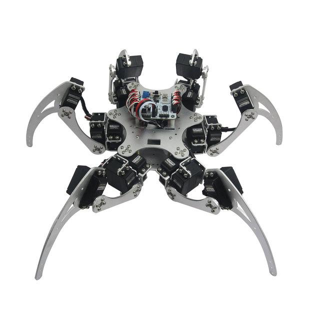 Aluminio Hexápodo Robótica Araña Seis 3DOF JUEGO de ESTRUCTURA Piernas Robot con Rodamientos para Arduino DIY