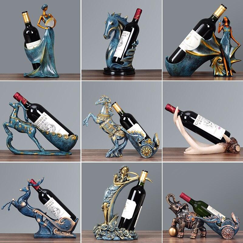 OUSSIRRO artisanat créatif résine rouge support de bouteille de vin cadre cygne cheval cerf bois chambre décoration bovins porcelaine animaux Figurines