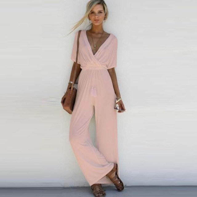 199298f5cd Fashion Elegant High Waist Jumpsuit Women Sexy Bodysuit Casual Playsuit  Fashion Summer Jumpsuits Vintage Loose Flare Pants 2017