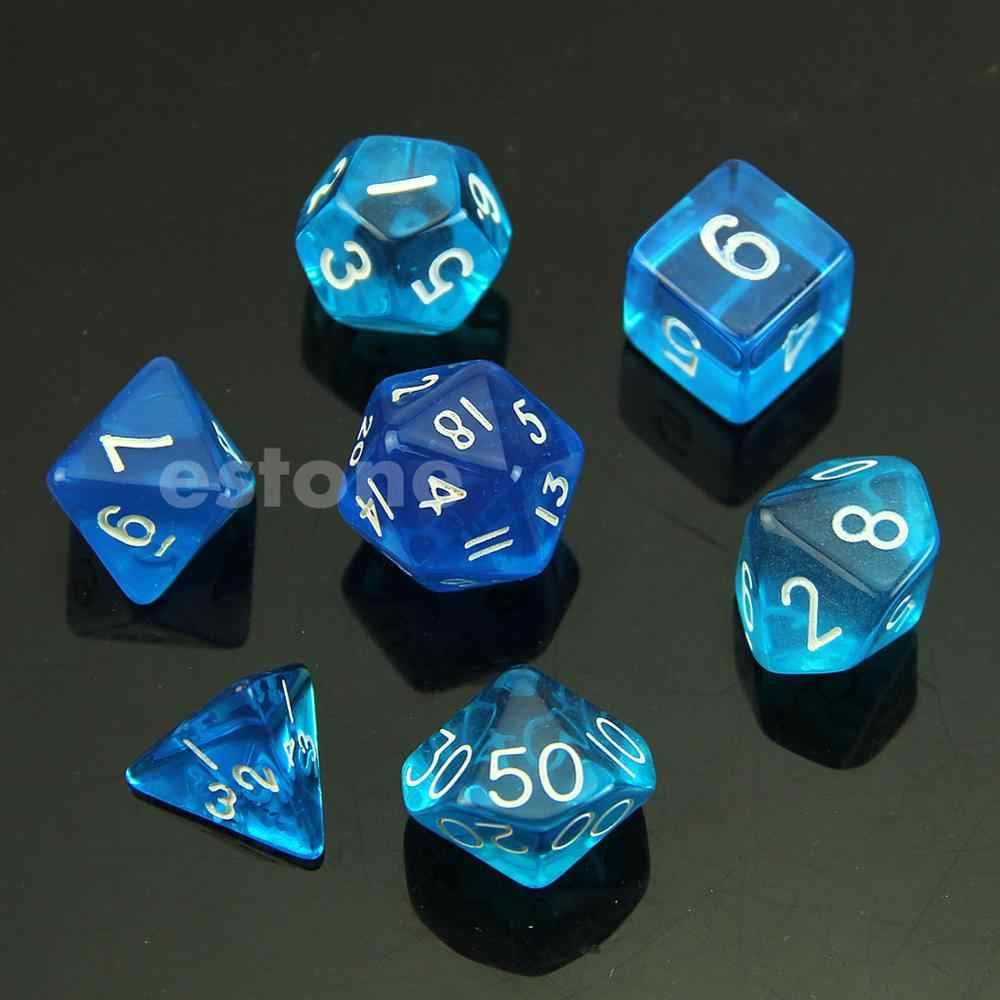 RPG D&D DND Poly Dice Board Game set of 7 sided die D4 D6 D8 D10 D12 D20