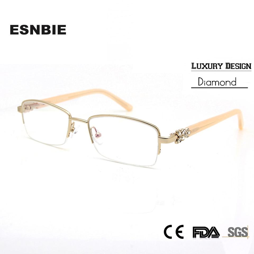 7800eb05eb478 ESNBIE Strass Luxo Armação dos óculos Mulheres de Alta Qualidade Meia Borda  Óculos Limpar Lens Óculos monturas de gafas mujer