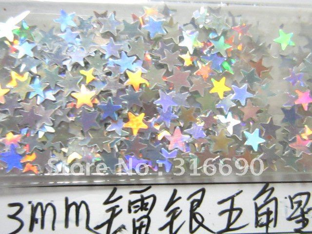 Free shipping 3mm silver star glitter paillette spangles for Paillette decoration