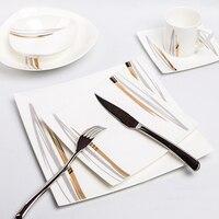Disenn Bone China набор посуды креативные тарелки квадратные европейские десертные миски стейк тарелка столовые приборы костюм посуда