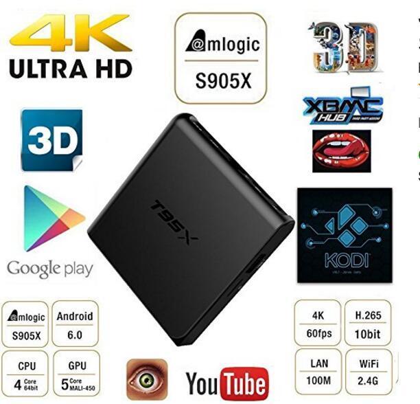 T95X 5 pcs android tv box 1G 8G ou 2g 16g S905X Amlogic Quad Core Android 6.0 Caixa De TV com 4 K * 2 K
