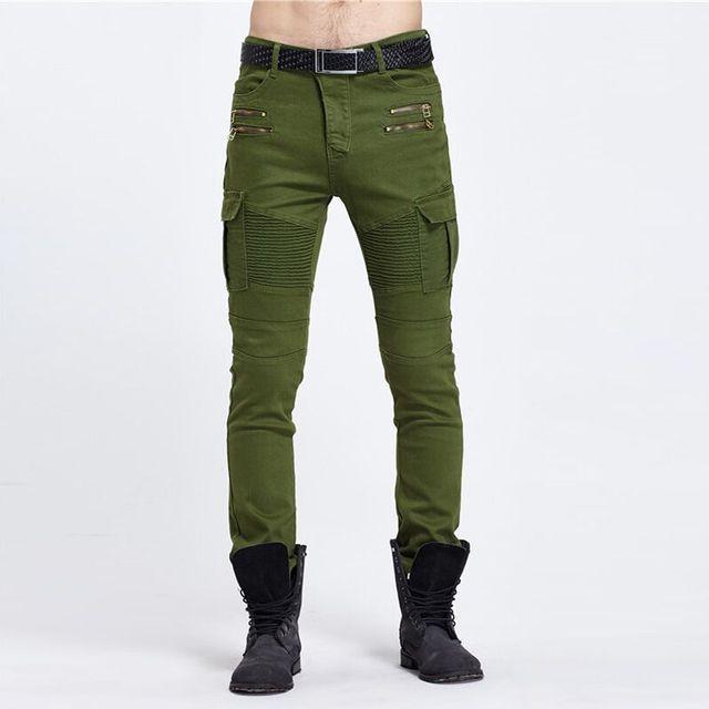 Fresco 2018 nosotros hip hop chic hombres unisex plisado bolsillos skinny  biker jeans 2 color 010074ba77f