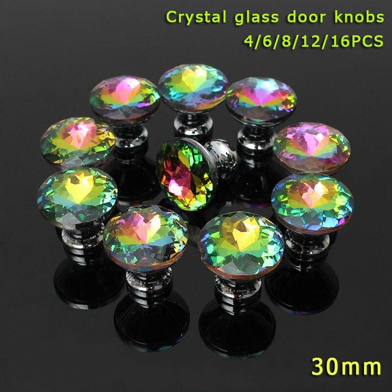 где купить New 4/6/8/12/16 Pcs/Set Colorful Clear Crystal Glass Door Knobs Furniture Handle For Drawer Cupboard Cabinet Wardrobe @8 по лучшей цене