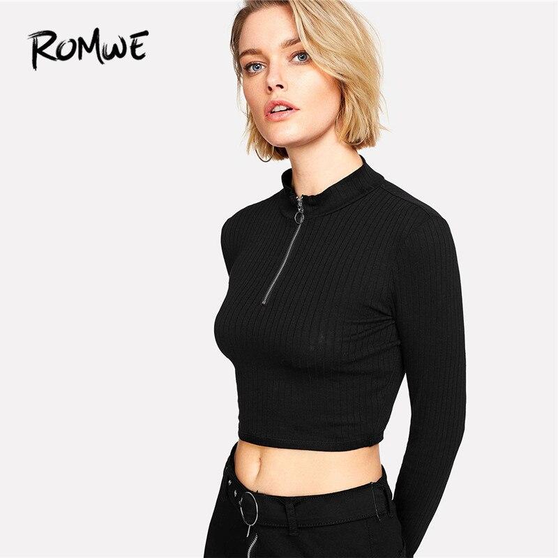 4301ef8c59868 ROMWE Ring Zip Up Front Ribbed Crop Tee Black Zipper Stand Collar T Shirt  Fall Plain Long Sleeve Women Top