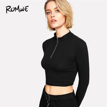 ddcab63499c ROMWE Ring Zip Up Front Ribbed Crop Tee Black Zipper Stand Collar T Shirt  Fall Plain Long Sleeve Women Top