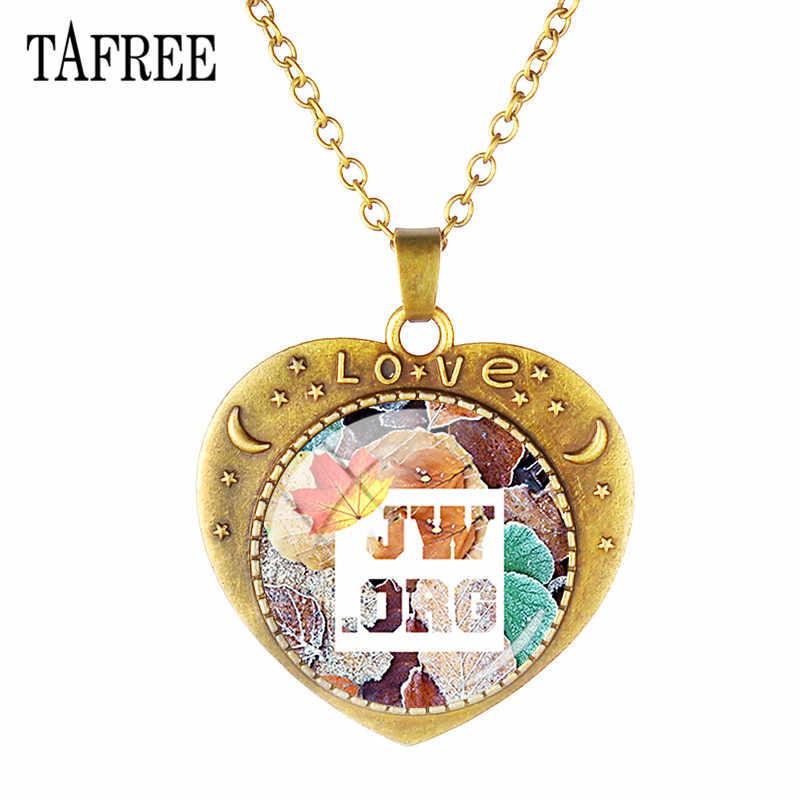 TAFREE caliente forma de corazón retro JW. Orgcollares colgantes patrón de Arte de cristal Cabohcon Aleación de bronce antiguo encantos cadena JW11
