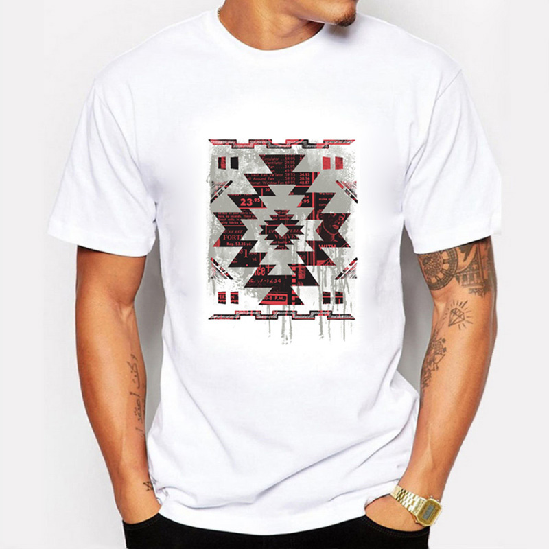 New Summer Men T Shirts Printing Aztec Pictographic