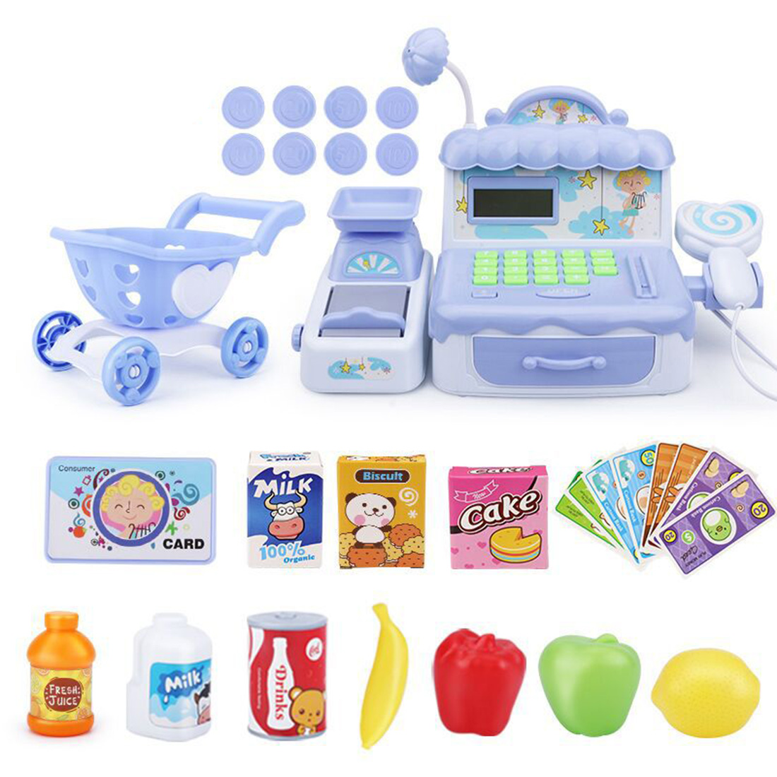 30Pcs Children Pretend Play Mini Supermarket Shopping Cart Toy Cash Register Playset Kids Pretend Play Early Educational Toys