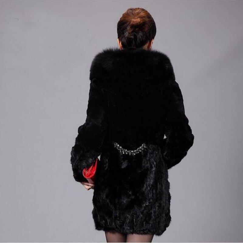 Capuchon Femmes Fourrure Veste De En Droite Faux Chaqueta Manteaux Femelle Les Mujer D'hiver Noir Manteau Longues Longue Mode Manches Épais À qB1xqzYdw