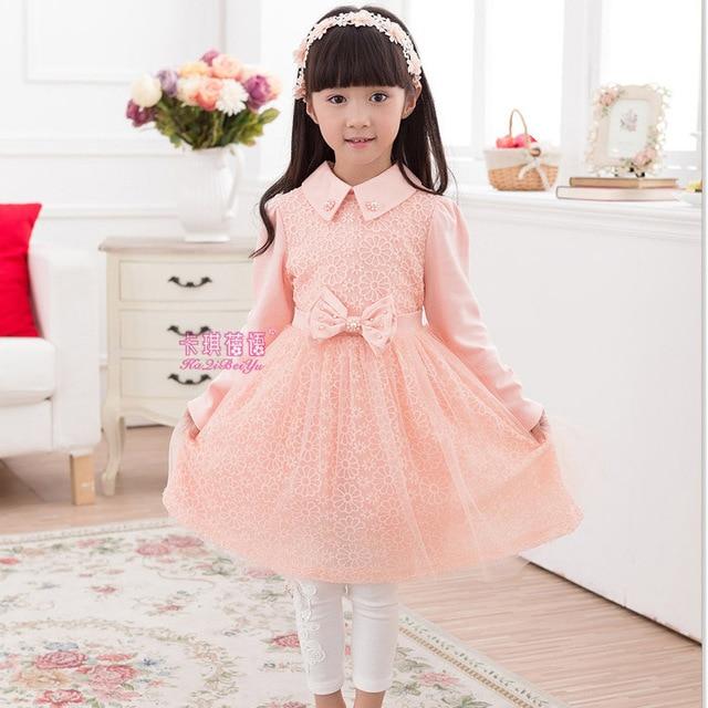 Anlencool 2017 Free shipping high quality Kids girls clothing  new Korean long-sleeved cotton dress princess dress girl dress