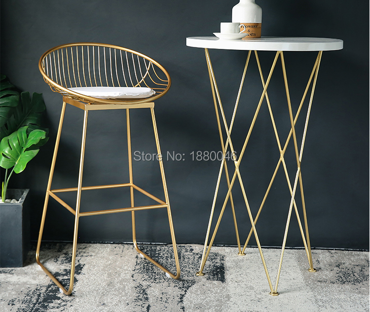 High Quality 42cm/62cm/72cm Nordic Bar Stool Bar Chair Creative Coffee Chair Gold High Stoolgolden Modern Leisure Metal Chair