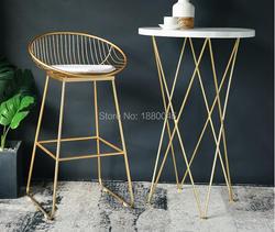 Высокое качество 42 см/62 см/72 см Nordic бар барный стул творческий кофе стул золото высокий stoolgolden современный досуг металлический стул