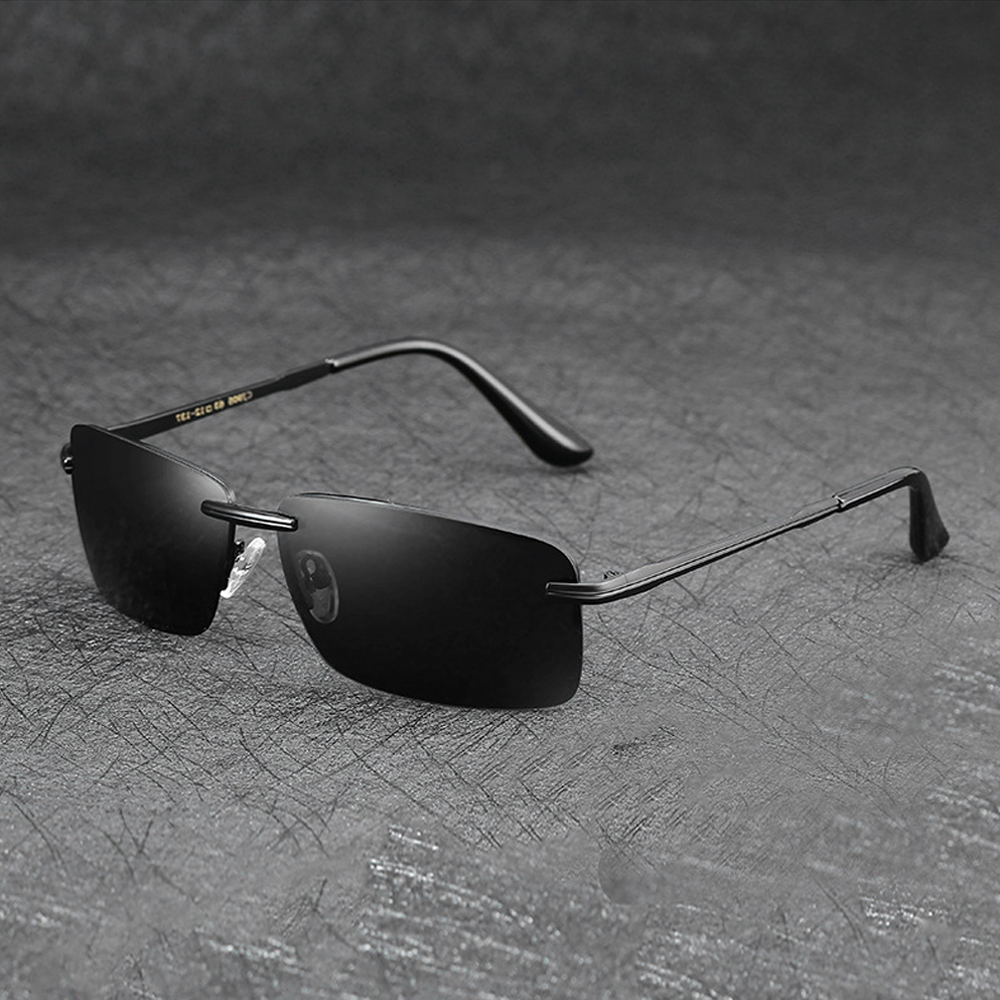2019 New Men's Polarized Sunglasses Fashion Classic Rimless Metal Sun Glasses UV400 Mirror Driving Goggles Eyewear PL1035