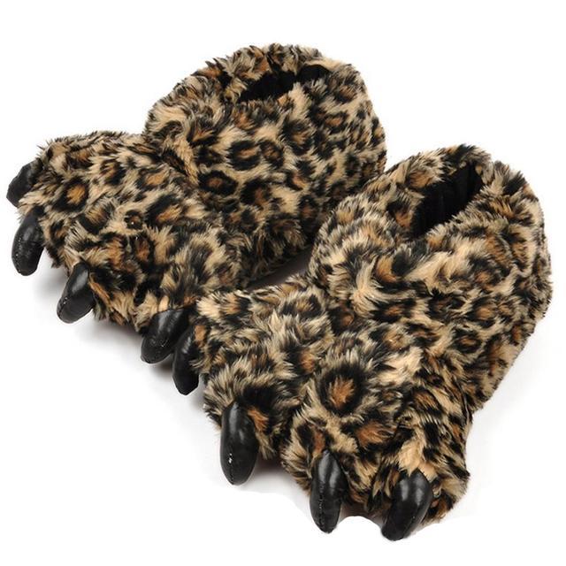 2015 Мультфильм Дизайнер Животных Тигр Леопард Осень Зима Коготь Paw Плюшевые Тапочки для Женщины Мужчины Крытый Обувь Главная Этаж Тапочки