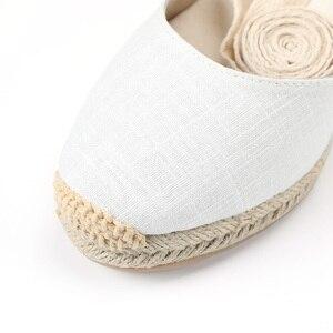 Image 5 - Nowy 0 3cm Tienda Soludos damskie sandały na koturnie pasek na kostkę Cap Toe Espadrille sandały zwięzłe bawełniane tkaniny {sandały} kobiety