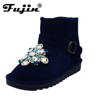 2017 Women Winter Boots Genuine Leather Snow Boots Female Rhinestone Ankle Snow Boots For Women Crystal