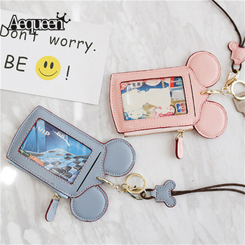 AEQUEEN Cute Mouse Card Holders For Women Card Wallets PU Leather Cartoon ID Cards Holder Lovely Animal Identity Badge With Rope