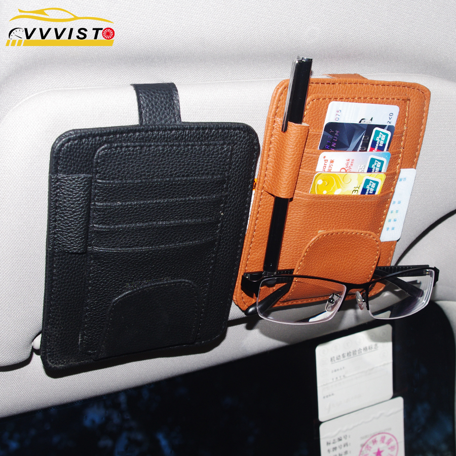 2018 VVVIST Car Sun Visor Pocket Organizer Pouch Bag Card Pen Glasses Storage Holder Car Interior Accessories Stowing Tidying PU auto car visor card storage sun visor organizer pouch bag card storage glasses holder clip visor storage holder hot