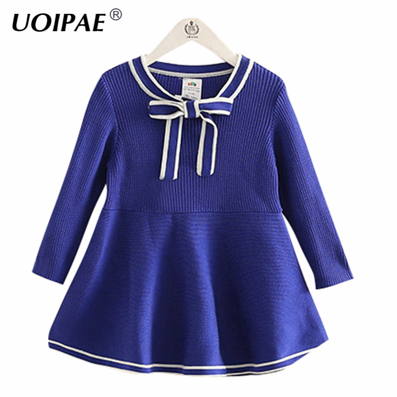 Baby Dresses Girl 2018 New Winter Simple Solid Color Dresses For Girls Long Sleeve Bow Kids Clothes Girls 4334W brand girl dress 2017 new winter fashipn printing dresses for girls solid color long sleeve kids clothes girls 4477w