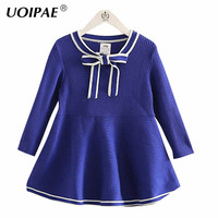 Baby Dresses Girl 2016 New Winter Simple Solid Color Dresses For Girls Long Sleeve Bow Kids