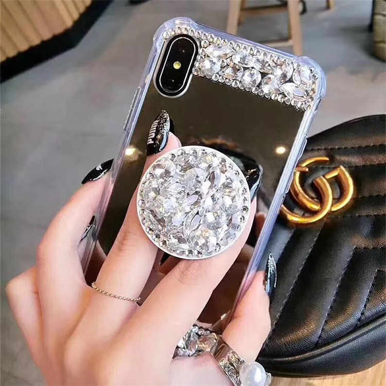 online retailer 70007 30761 For iPhone XS MAX XR Mirror Fancy crystal stand Case For iPhone X 7 8 Plus  6s Airbag bracket Rhinestones Glitter Protective Case