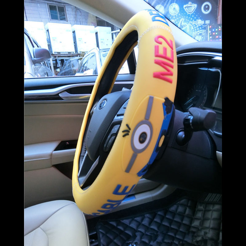 Cute Minions Steering Wheel Cover Sports Universal Size Car Steering ...