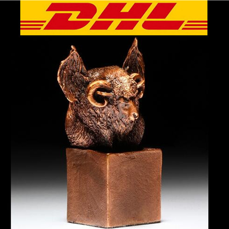 Bronze Sheep Statue lovely Sheep Bust Crafts Decoration Seiko Seal Home Decoration Bats And Sheep Are Carved Together Boxed T95 s3886 chinese buddhism bronze kwan yin songziyuan guanyin bodhisattva boy god statue
