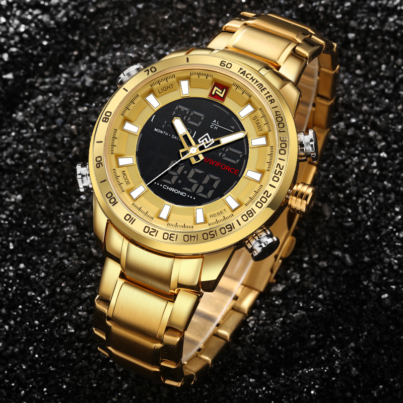 NAVIFORCE Top Brand Gold Sports Watches Man Full Steel