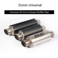 Universal 38 51 mm Exhaust Muffler Pipe Motorcycle Silencer Stainless Steel Tail Escape Carbon Fiber Removable DB Killer Scooter