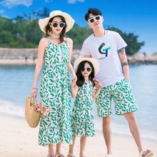 mother daughter dresses summer green leaves print long sleeveless dress for girls women bohemian maxi chiffon men t-shirt