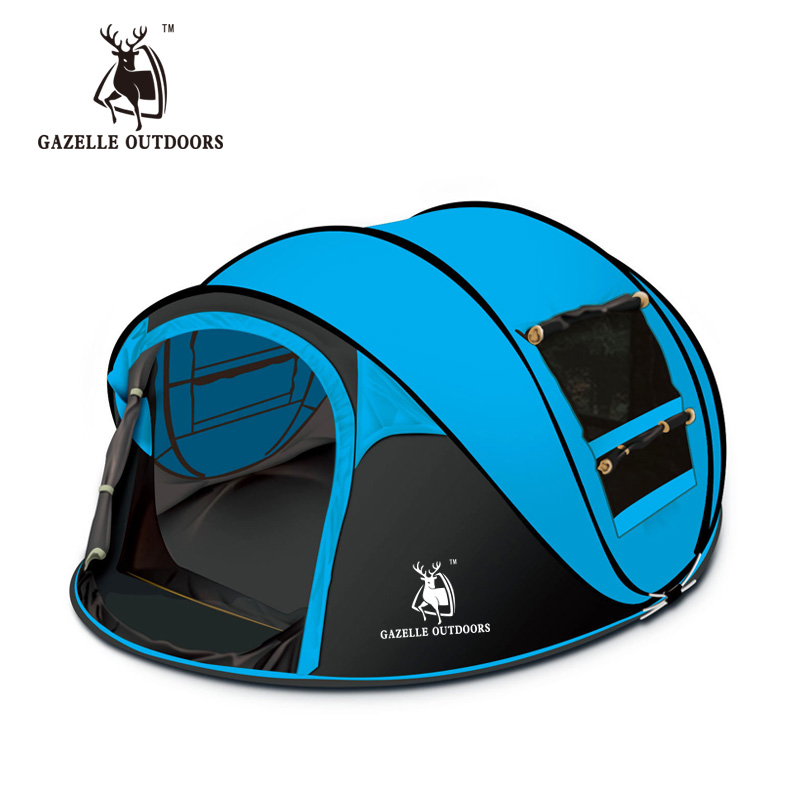 все цены на Large Quick Automatic Camping Tent 3-4 person For Familly Tourist Waterproof Travel Hiking Throwing Pop Up Tent Beach HW136 онлайн